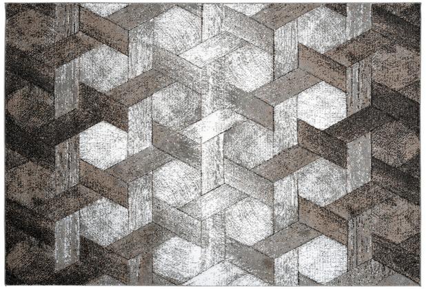 Kayoom Teppich Dominica - Tanetane Platin / Beige 120 x 170 cm