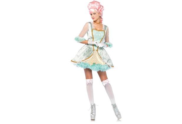 Leg Avenue 3 tlg Deluxe Marie Antoinette Kostüm-Set beinhaltet Brokat Kleid mit Rautenmaschen Akzenten, Pin-on Bogen und passendem Halsband grün/gold L