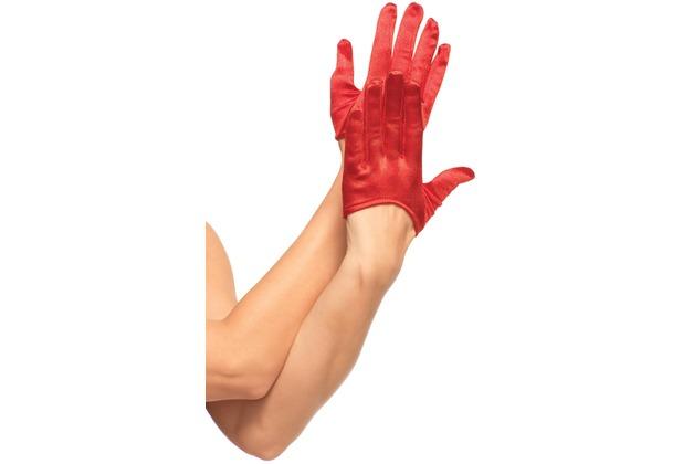 Leg Avenue Mini Abgeschnitte Satin Handschuhe  rot one size