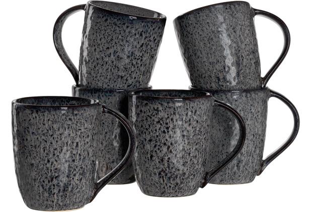 Leonardo Matera Keramiktasse 6er-Set 430 ml anthrazit