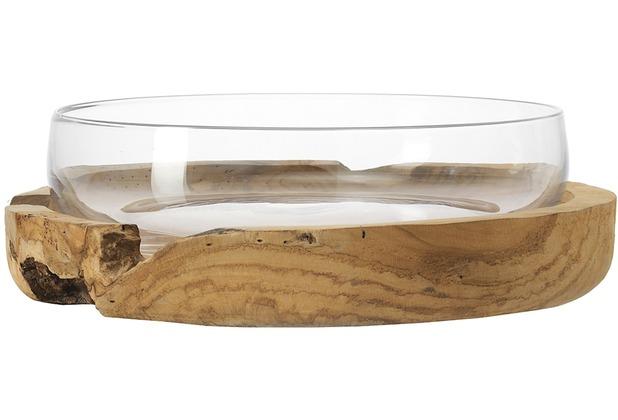 Leonardo Schale Terra mit Teaksockel 39 cm klar