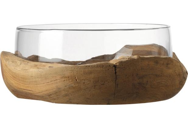 Leonardo Schale Terra mit Teaksockel 28 cm klar