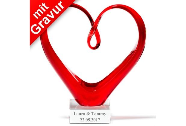 Leonardo Skulptur Heart Glas-Herz rot MIT GRAVUR (z.B. Namen & Datum)
