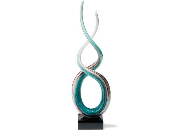 Leonardo Skulptur Rotate 48 cm weiß/türkis