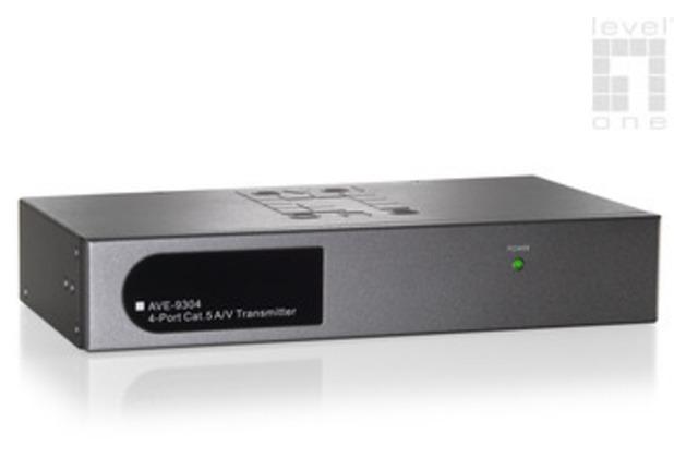 LevelOne Long Range 4-Port Cat.5 A/V Transmitter - (AVE-9304)