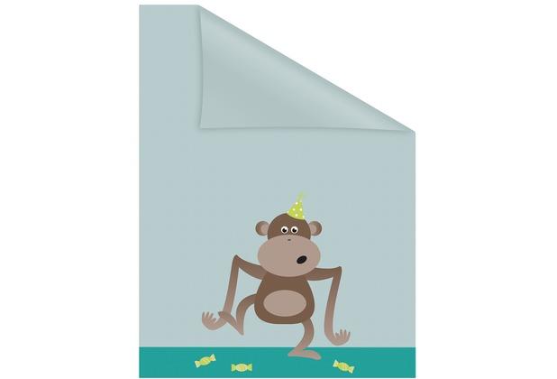 Lichtblick Fensterfolie selbstklebend, Sichtschutz, Affe - Grün Braun Breite: 100 cm, Länge: 100 cm