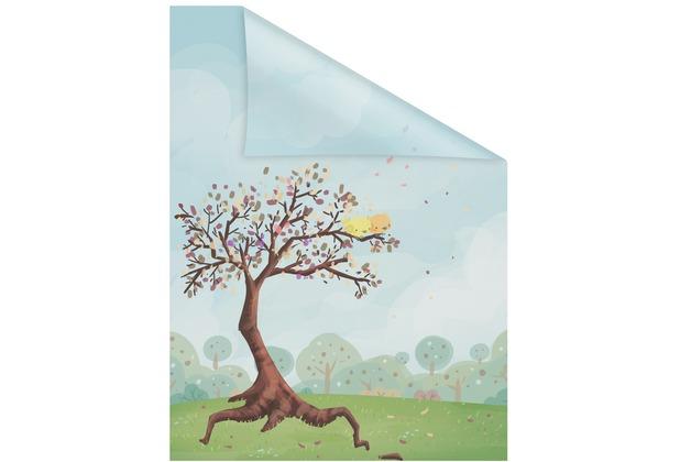 Lichtblick Fensterfolie selbstklebend, Sichtschutz, Märchenbaum - Bunt Breite: 100 cm, Länge: 100 cm