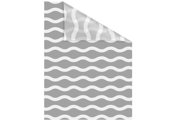 Lichtblick Fensterfolie selbstklebend, Sichtschutz, Welle - Grau Weiß Breite: 100 cm, Länge: 100 cm