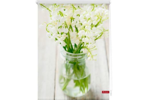 Lichtblick Rollo Klemmfix, ohne Bohren, blickdicht, Maiglöckchen - Weiß Breite: 100 cm