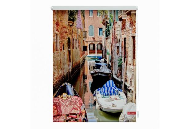 Lichtblick Rollo Klemmfix, ohne Bohren, blickdicht, Venedig Gondola - Rot Breite: 100 cm