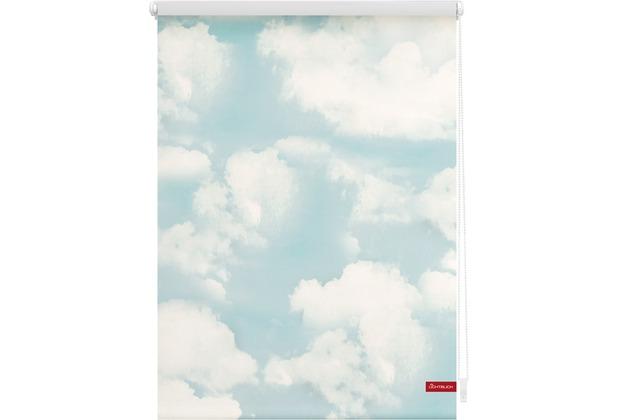 Lichtblick Rollo Klemmfix, ohne Bohren, blickdicht, Wolken - Blau Breite: 100 cm