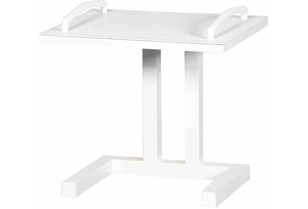 LIFE Easy Beistelltisch weiß Aluminum weiß, mit Tablett