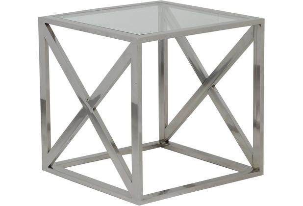 Light & Living Beistelltisch 40x40x40 cm CROSS Nickel mit Glas