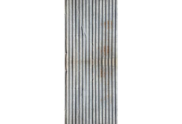 Livingwalls 0200-16 Türtapete Wellblech Grau