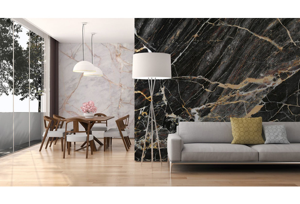 Livingwalls Fototapete Designwalls Marmortapete Black Gold Marble gold grau schwarz Vliestapete glatt 3,50 m x 2,55 m