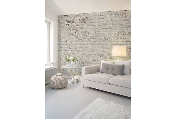 Livingwalls Fototapete Designwalls Backstein Tapete Brick White grau weiß Vliestapete glatt 3,50 m x 2,55 m