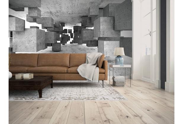 Livingwalls Fototapete Designwalls 3D Tapete Concrete Tetris grau schwarz weiß Vliestapete glatt 3,50 m x 2,55 m