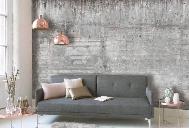 Livingwalls Fototapete Designwalls Betontapete Concrete Wall braun grau taupe Vliestapete glatt 3,50 m x 2,55 m