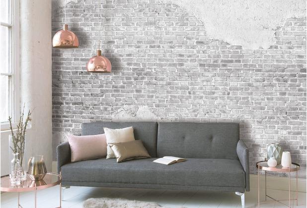 Livingwalls Fototapete Designwalls Backstein Tapete Old Brick Wall grau weiß Vliestapete glatt 3,50 m x 2,55 m