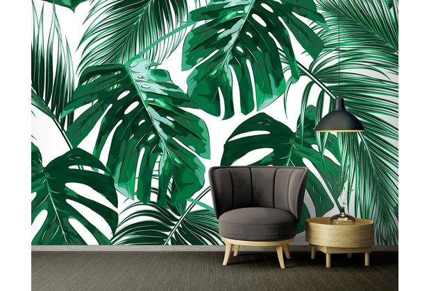 Livingwalls Fototapete Designwalls Dschungeltapete Palm Leaves grün türkis weiß Vliestapete glatt 3,50 m x 2,55 m