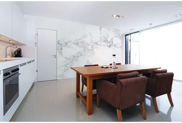 Livingwalls Fototapete Designwalls Marmortapete White Marble grau schwarz weiß Vliestapete glatt 3,50 m x 2,55 m