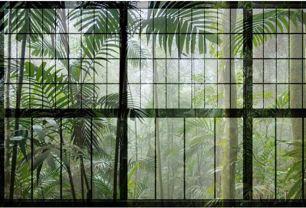 Livingwalls Fototapete Walls by Patel botanische Tapete Rainforest grün schwarz Vliestapete glatt 4,00 m x 2,70 m