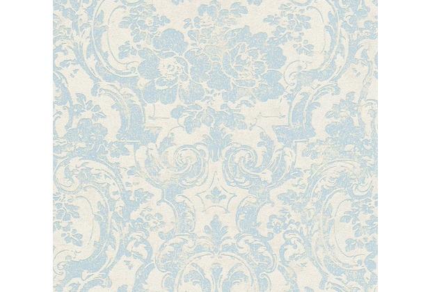 Livingwalls neobarocke Mustertapete Moments Tapete blau grau metallic 10,05 m x 0,53 m