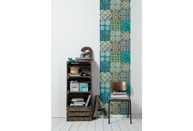 Livingwalls selbstklebendes Panel Pop.up Panel 3D blau türkis grün 368411 2,50 m x 0,52 m