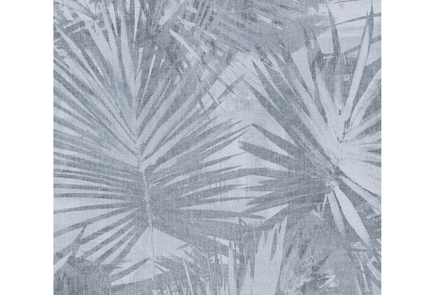 Livingwalls Vliestapete Hygge Tapete mit Palmenprint in Dschungel Optik blau grau 363855 10,05 m x 0,53 m