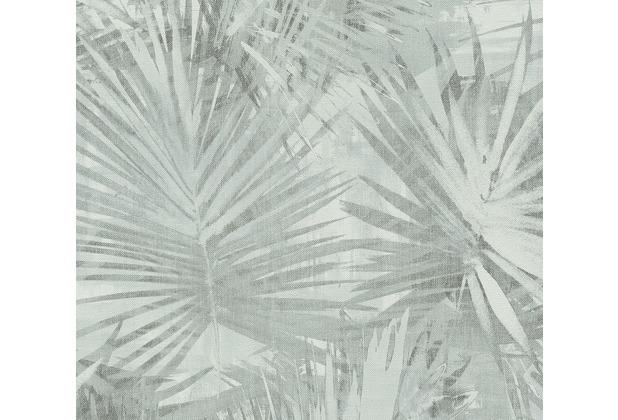 Livingwalls Vliestapete Hygge Tapete mit Palmenprint in Dschungel Optik blau grün 363853 10,05 m x 0,53 m