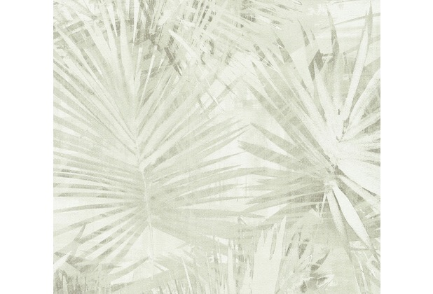 Livingwalls Vliestapete Hygge Tapete mit Palmenprint in Dschungel Optik creme grün 363854 10,05 m x 0,53 m