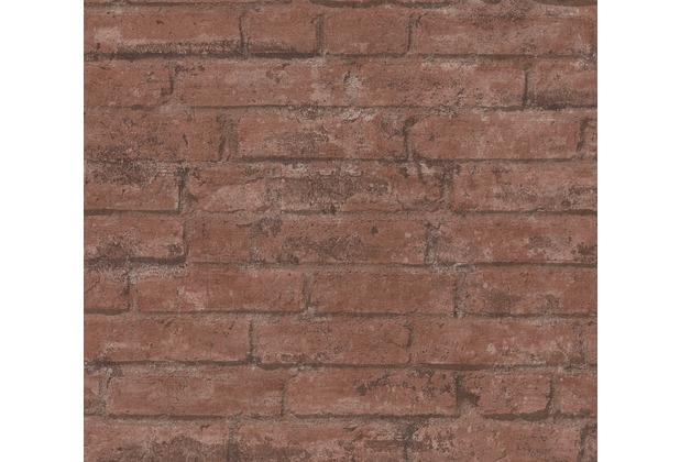 Livingwalls Vliestapete Industrial Tapete in Backstein Optik braun rot anthrazit weiß 377472 10,05 m x 0,53 m
