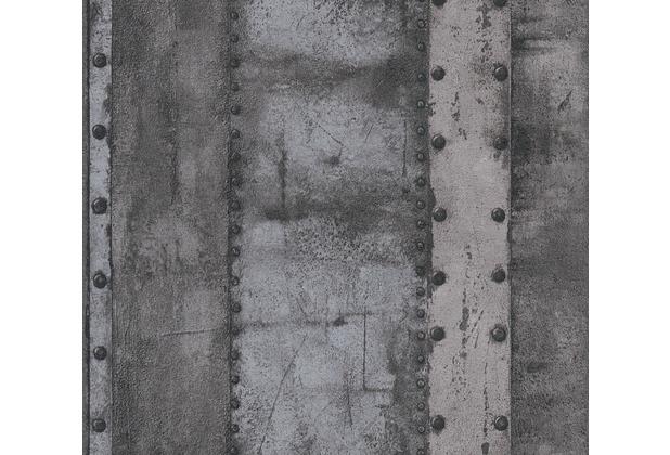 Livingwalls Vliestapete Industrial Tapete in Vintage Optik grau schwarz 377434 10,05 m x 0,53 m
