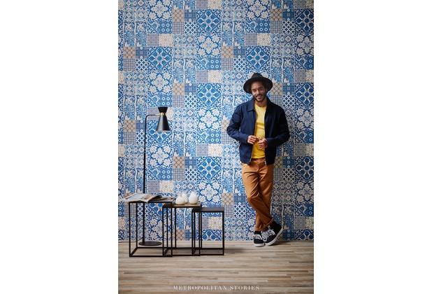 Livingwalls Vliestapete Metropolitan Stories Anke & Daan Amsterdam Tapete in Fliesen Optik blau creme lila 10,05 m x 0,53 m