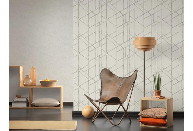 Livingwalls Vliestapete Metropolitan Stories Francesca Milano Tapete geometrisch grafisch metallic weiß 10,05 m x 0,53 m