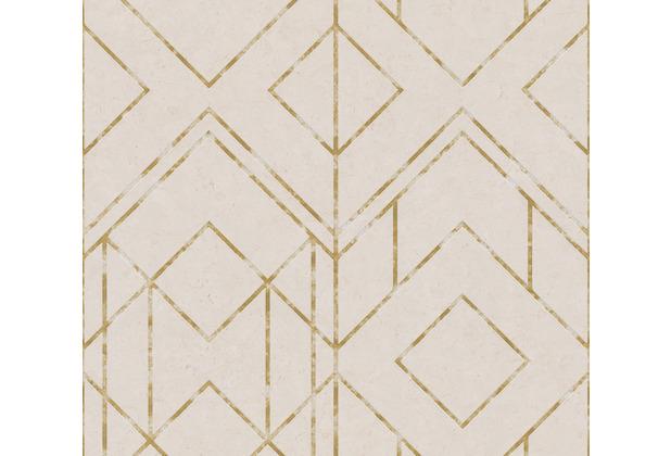 Livingwalls Vliestapete Metropolitan Stories geometrische Tapete Ava New York beige metallic 378693 10,05 m x 0,53 m