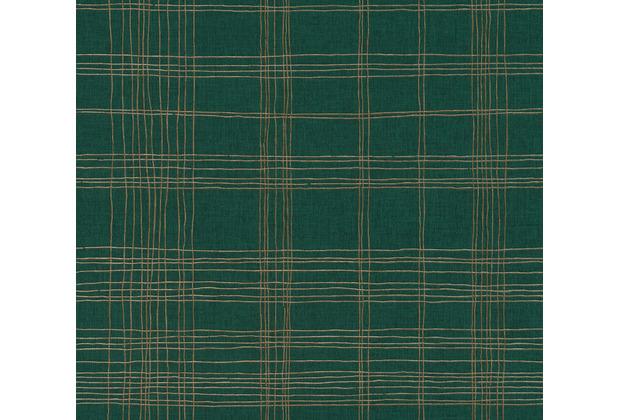 Livingwalls Vliestapete Metropolitan Stories karierte Tapete Ava New York grün metallic 379193 10,05 m x 0,53 m