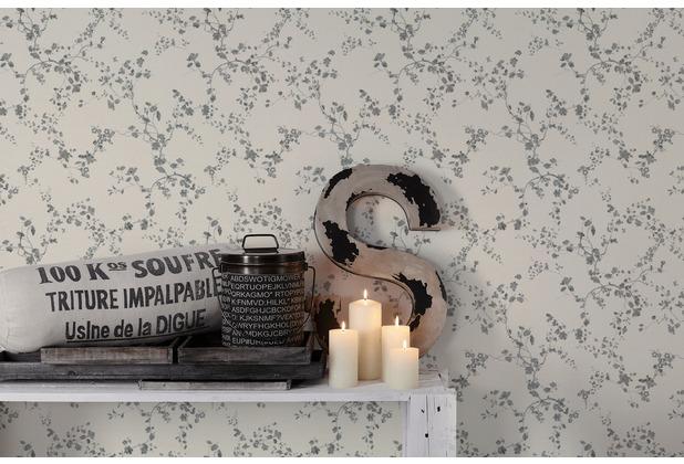 Livingwalls Vliestapete Metropolitan Stories Lola Paris Tapete mit Blumen floral metallic schwarz weiß 368962 10,05 m x 0,53 m