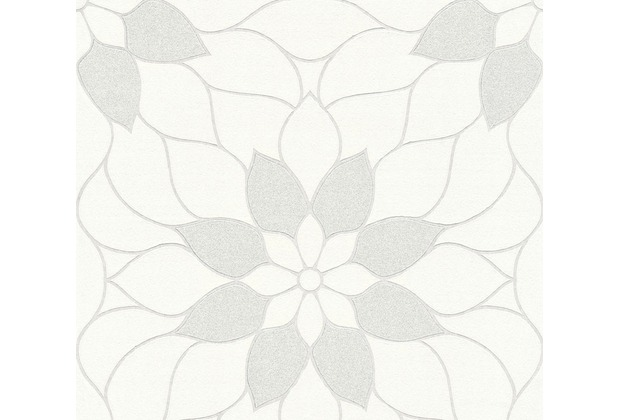 Livingwalls Vliestapete mit Glitter Neue Bude 2.0 Tapete in floraler Optik weiß 361707 10,05 m x 0,53 m