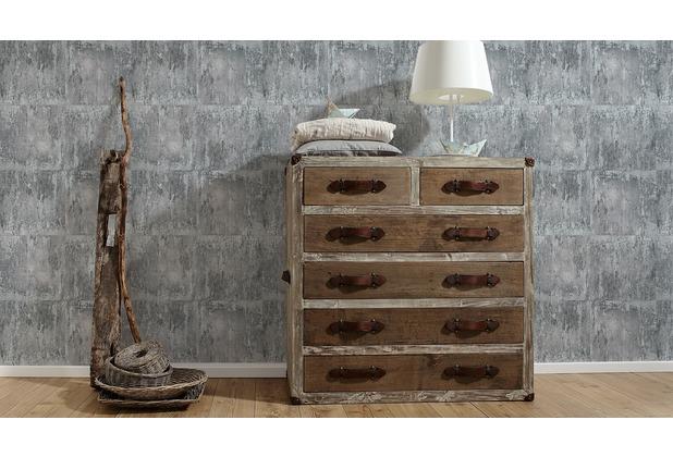 Livingwalls Vliestapete Neue Bude 2.0 Tapete in Vintage Rost Optik metallic grau schwarz 10,05 m x 0,53 m