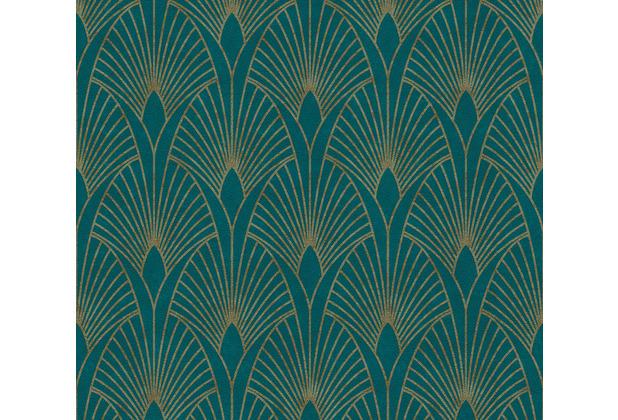 Livingwalls Vliestapete New Walls Tapete 50\'s Glam Art Deco Optik metallic blau grün 374275 10,05 m x 0,53 m