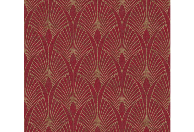 Livingwalls Vliestapete New Walls Tapete 50\'s Glam Art Deco Optik metallic rot 374274 10,05 m x 0,53 m