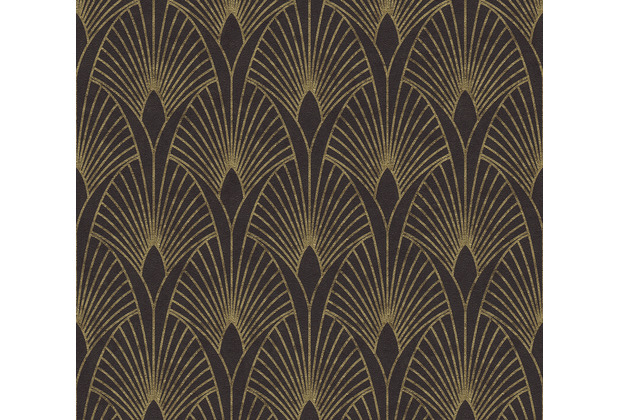 Livingwalls Vliestapete New Walls Tapete 50\'s Glam Art Deco Optik metallic schwarz 374273 10,05 m x 0,53 m