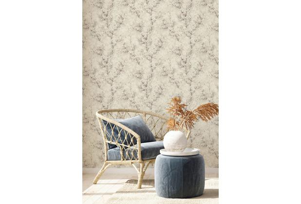 Livingwalls Vliestapete New Walls Tapete Cosy & Relax mit Kirschblüten weiß creme grau 374202 10,05 m x 0,53 m