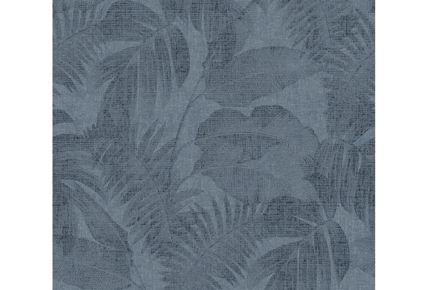 Livingwalls Vliestapete New Walls Tapete Cosy & Relax mit Palmenblättern blau 373965 10,05 m x 0,53 m