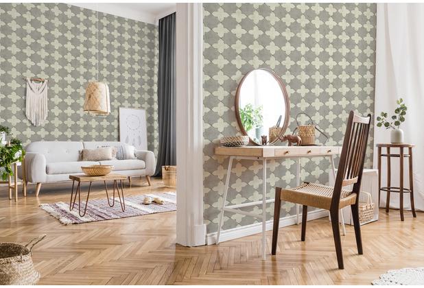 Livingwalls Vliestapete New Walls Tapete Finca Home in Fliesen Optik creme grau 374215 10,05 m x 0,53 m