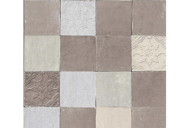 Livingwalls Vliestapete New Walls Tapete Finca Home in Fliesen Optik grau creme 374063 10,05 m x 0,53 m