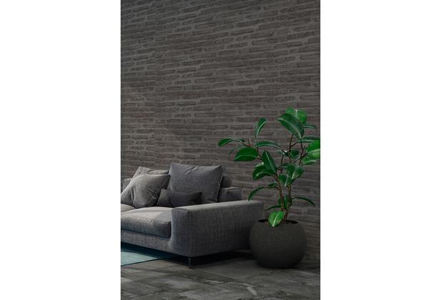 Livingwalls Vliestapete New Walls Tapete Loft Living in Vintage Backstein Optik schwarz grau 374223 10,05 m x 0,53 m