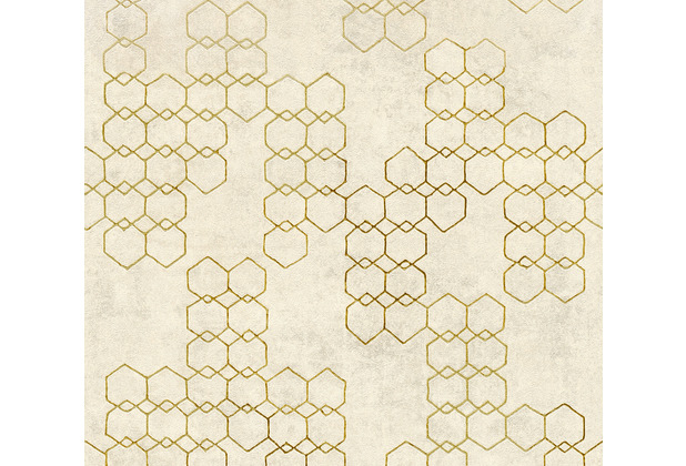 Livingwalls Vliestapete New Walls Tapete Urban Grace geometrisch creme metallic grau 374242 10,05 m x 0,53 m