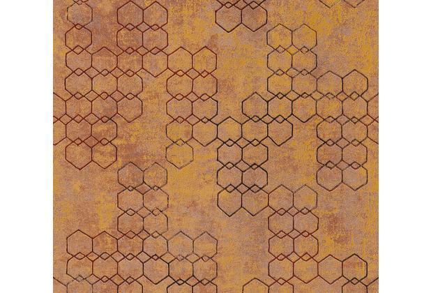 Livingwalls Vliestapete New Walls Tapete Urban Grace geometrisch metallic braun orange 374243 10,05 m x 0,53 m
